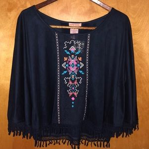 Boho Embroidered Faux Suede Cropped Poncho